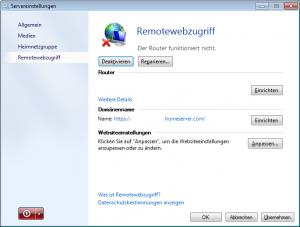 Servereinstellungen Remotewebseite