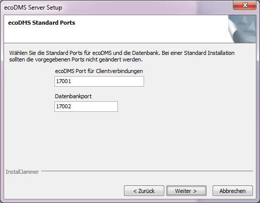 Auswahl der ecoDMS Ports